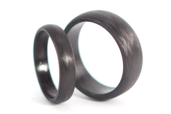 Set Of Two Carbon Fiber Round Wedding Bands Unique And Modern Etsy In 2020 Black Rings Plastic Wedding Rings Carbon Fiber Wedding Bands