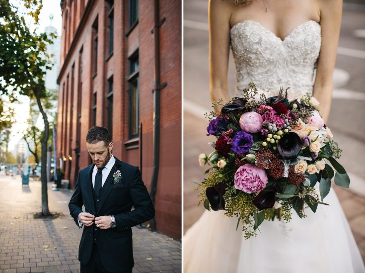 Groom Style, Jewel toned wedding bouquet, Fall Wedding at Berkeley Church by Toronto Wedding Photographer Jennifer van Son