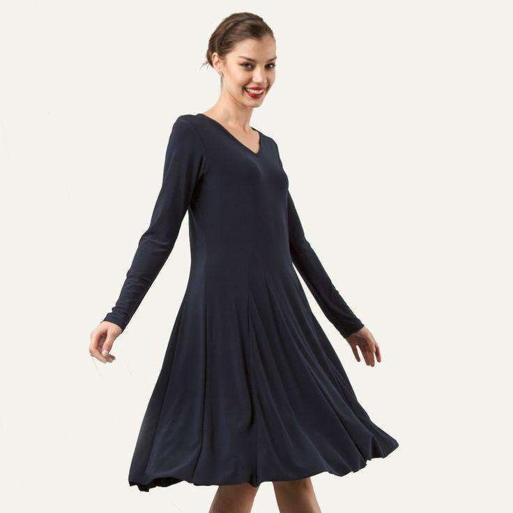V-Neck Godet Dress