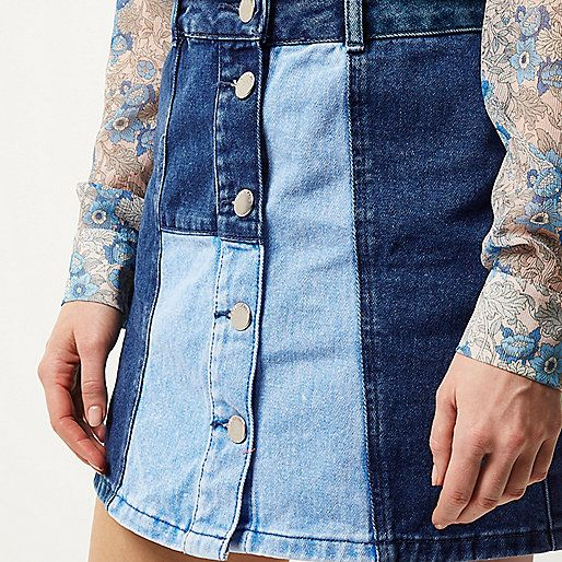 Blauwe denimrok met patchwork - denim rokken - rokken - dames