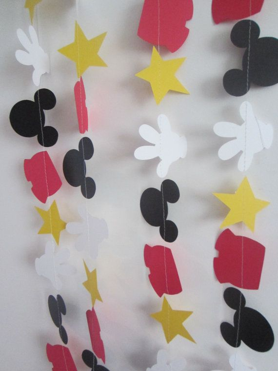 mickey mouse inspired paper garland banner by ForAHappyDay on Etsy, $10.00