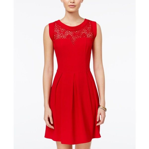 Speechless Juniors' Lace-Trim Pleated Dress ($47) ❤ liked on Polyvore featuring dresses, deep red, night out dresses, red dress, party dresses, red holiday party dress and going out dresses