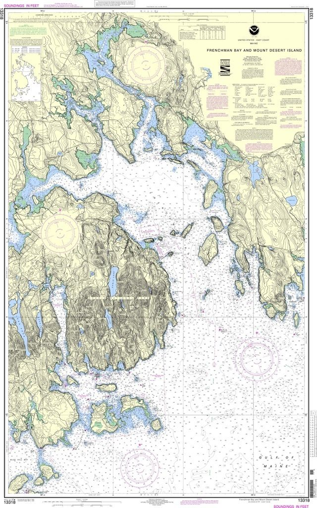 "NOAA Nautical Chart 13318: Frenchman Bay and Mount Desert lsland is a standard navigation chart used by commercial and recreational mariners alike. Printed ""on-demand"" with water resistant paper, it c"