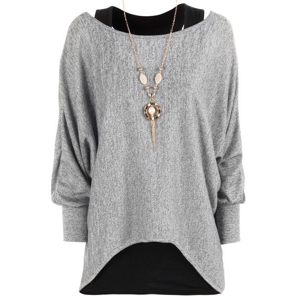 Belinda Knitted Necklace Top ($25) ❤ liked on Polyvore featuring tops, grey, gray top, batwing top, grey long sleeve top, grey top and long sleeve tops