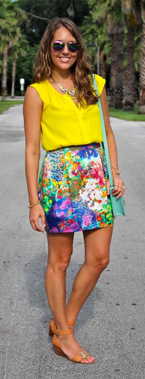 Canary yellow top with floral skirt and mint purse