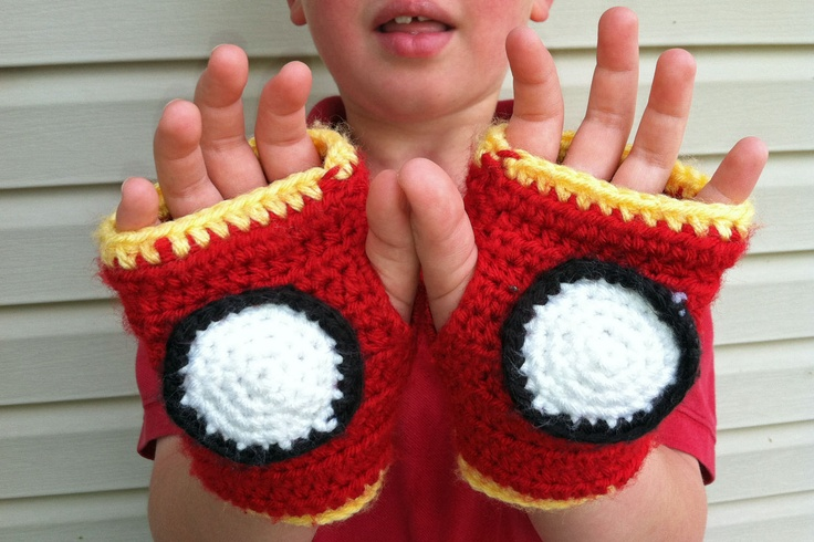 Iron Man Fingerless Gloves - Free Crochet Pattern (kid sized, but I know some adults who would love these!)