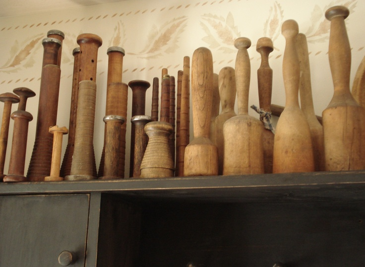 A collection of wooden mashers and spools.  Very prim.  This out-does my collection by one or two.  ;)