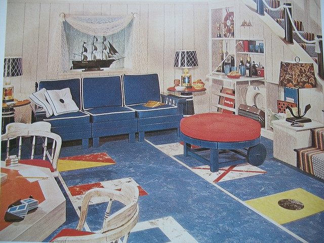 At Sea--1950s Basement Rec Room by Library Fashionista, via Flickr