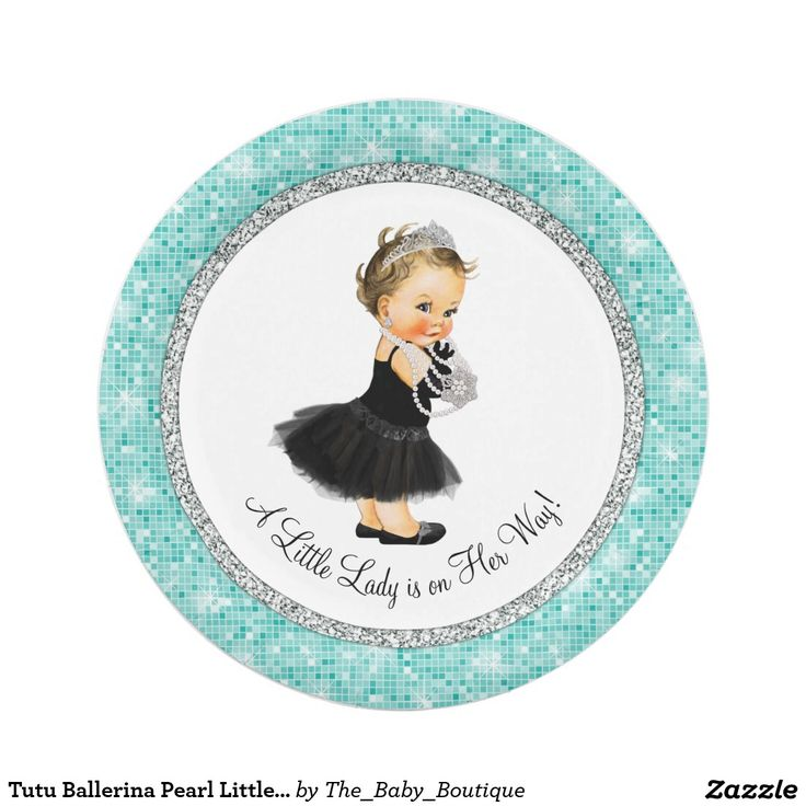 Tutu Ballerina Pearl Little Lady Baby Girl Shower 7 Inch Paper Plate