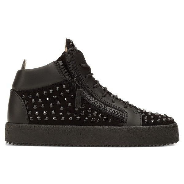Giuseppe Zanotti Doris ($1,095) ❤ liked on Polyvore featuring shoes, sneakers, black, black trainers, giuseppe zanotti, black rubber sole shoes, giuseppe zanotti shoes and black shoes