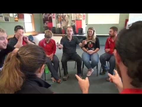 Fun group name-game called Name Impulse - Sitting in a circle, a group of people call out their names as fast as possible, one after the other to record a no...