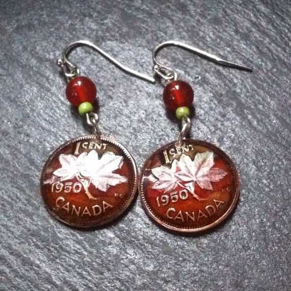 1950 Canadian Maple Leaf Penny Earrings with Agate Beads