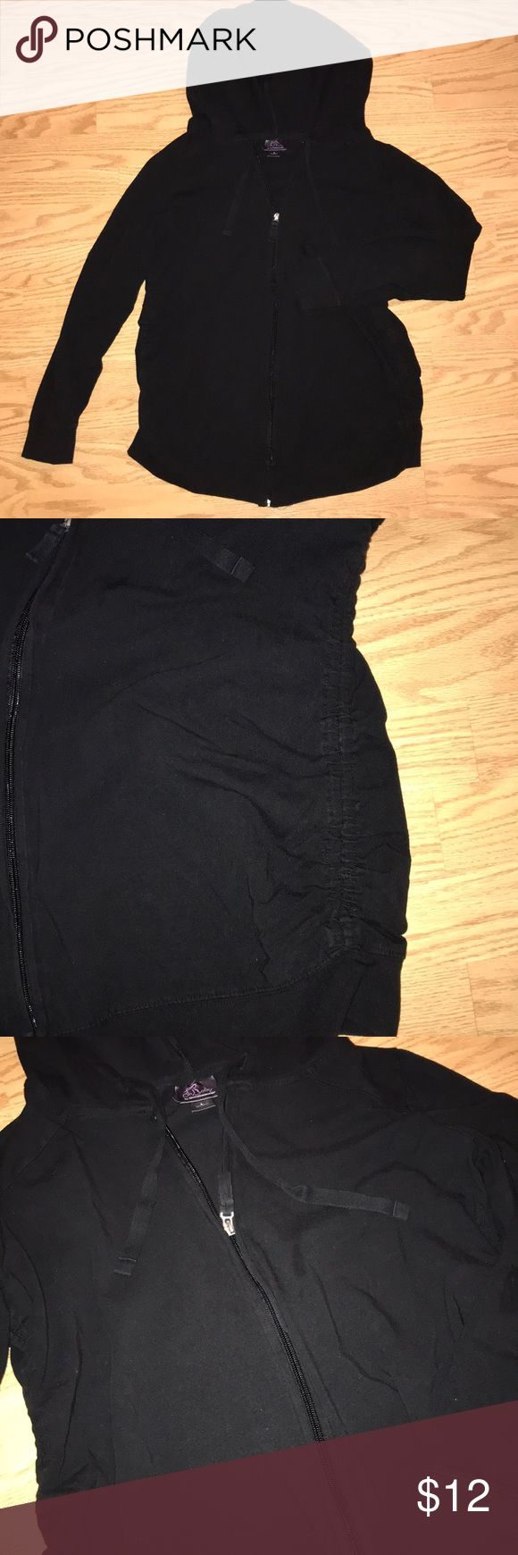🤰🏻Maternity Zip Up Hoodie- L Black zip up maternity hoodie. Has ruched sides for a stretchy fit. Good condition. Smoke-free, Pet-free home.   Bundle and Save!!! Oh Baby by Motherhood Tops Sweatshirts & Hoodies