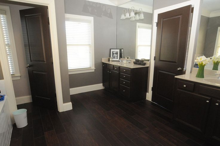 Dark wood floor wide panels floor ideas pinterest for Hardwood floor in bathroom