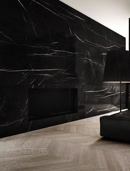 Black Marble Slab Fireplace. Almost invisible.