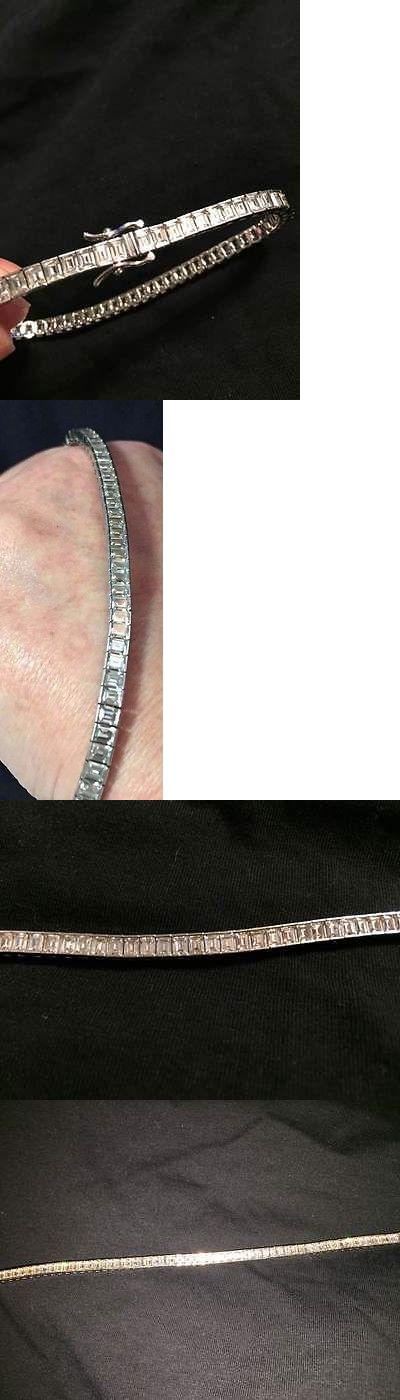 Other Fine Bracelets 3839: Qvc Epiphany Platinum Sterling Silver Diamonique Baguette Tennis Bracelet 8 Inch -> BUY IT NOW ONLY: $49.99 on eBay!