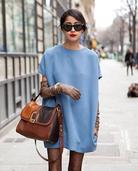 I just adore this look. Periwinkle shift dress and the gloves, oh my!