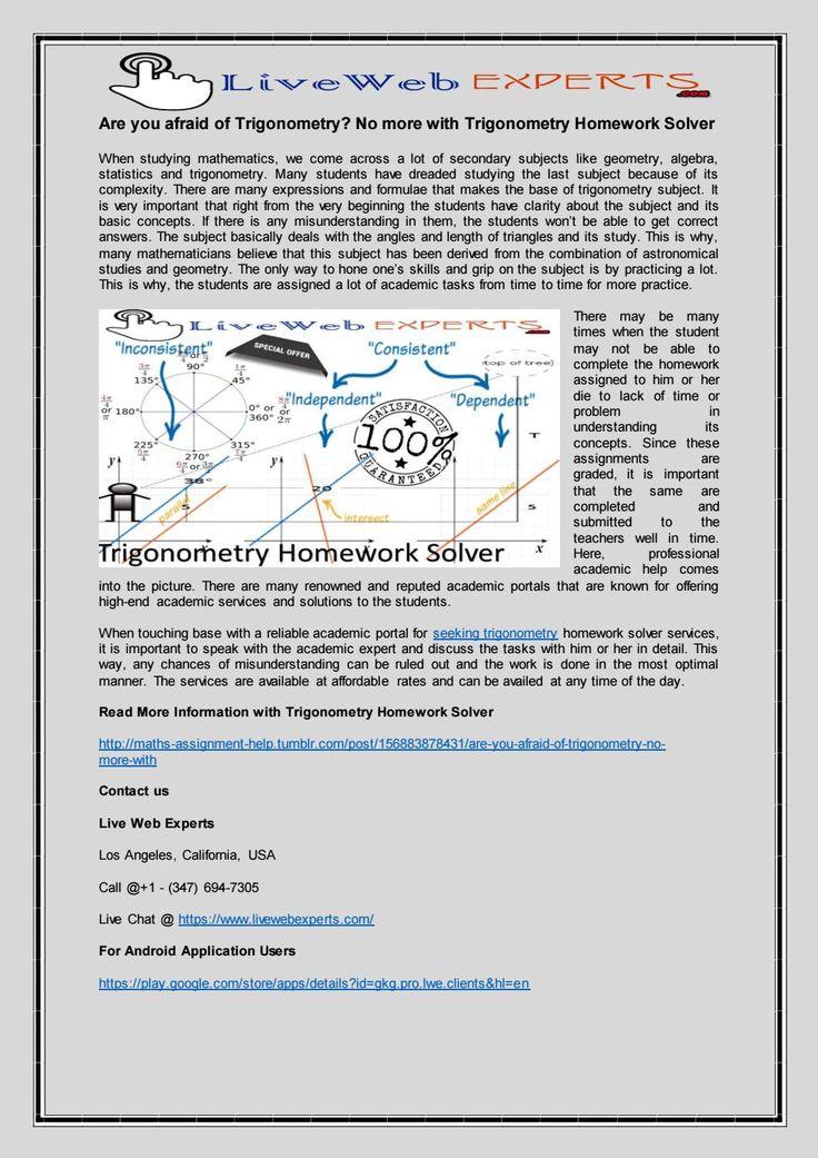 Are you afraid of Trigonometry? No more with Trigonometry Homework Solver