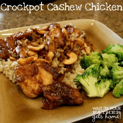 Ingredients for Crockpot Cashew Chicken 1 boneless skinless chicken breast per family member 1/4 c flour 1/4 tsp black pepper 1 T extra virgin olive oil 1/4 cup soy sauce 2 T rice wine vinegar 2 T ketchup 1 T brown sugar 1 clove minced garlic 1/4 cup ginger dressing 1/4 tsp red pepper flakes 1/3 cup cashews