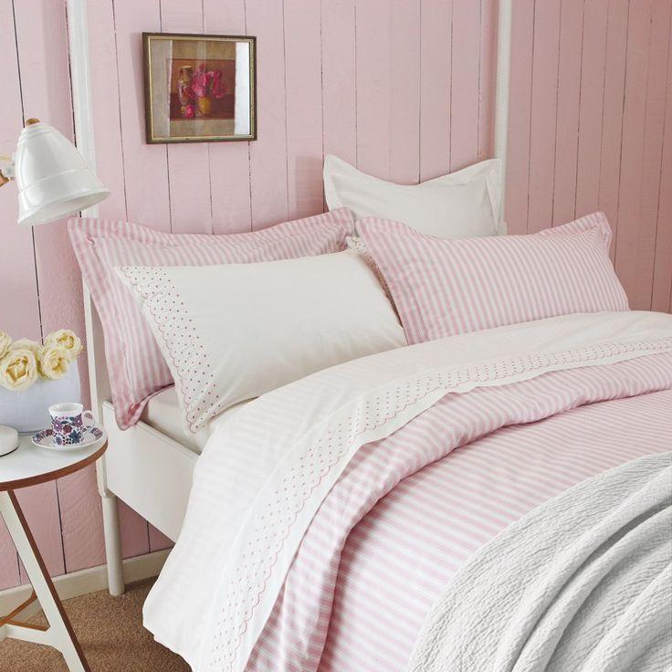 Pink and White Striped Bedding | Sanderson Tiger Stripe Bedlinen at Bedeck Home
