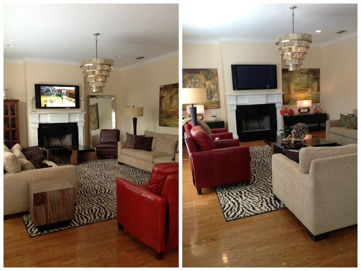 We used all of the furniture and accessories from the top picture (before) and rearranged them to create the bottom picture (after). We added the small tables and lamps framing the fireplace, as well as the throw pillows.  #family room redesign #homedecor