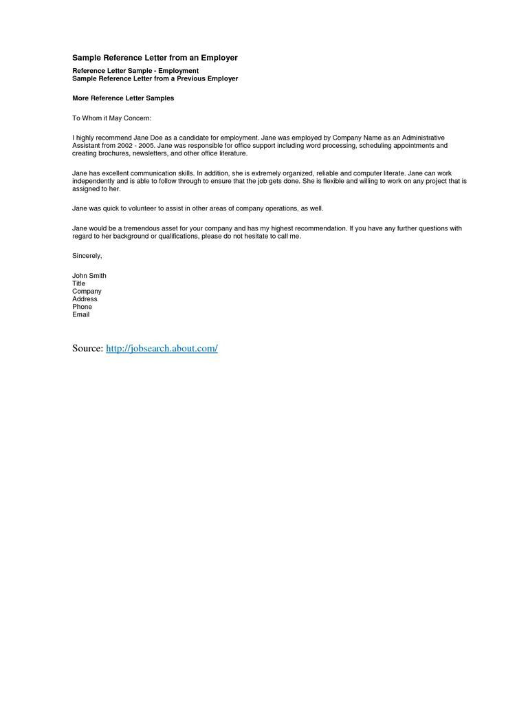 Request For Reference Letter From Employer Sample from i.pinimg.com