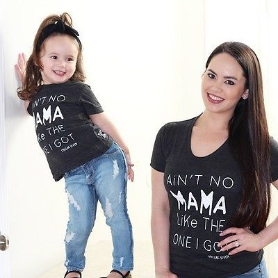 Mama Kids Baby Matching Tops T-Shirt Short Sleeve Letter Boys Cotton Clothes Women Family T Shirts Blouses