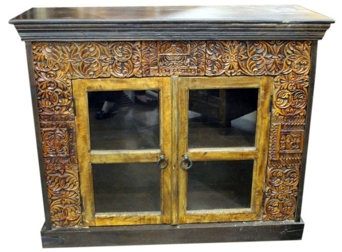Carved Old World Sideboard With Glass Doors