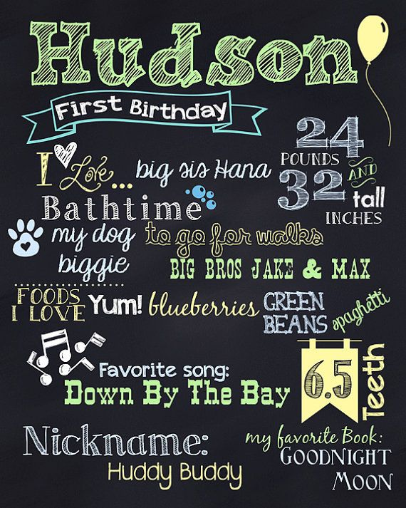 First Birthday Boy or Girl Chalkboard by LadybugsandGrasshopp, $20.00