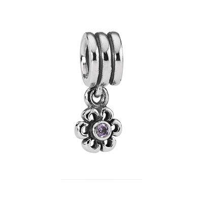 Pandora Silver & Purple Zirconia Daisy Drop Charm On Sale Now Was