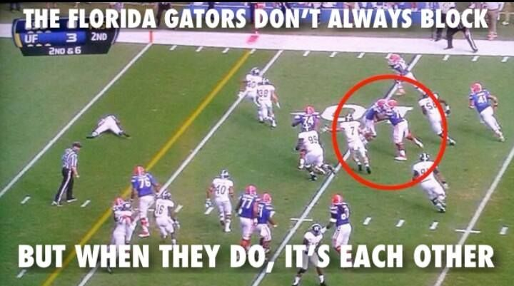 Man the gators can't even block the Seminoles they seem to have to block e'm selves.. Lol pick a fight later!