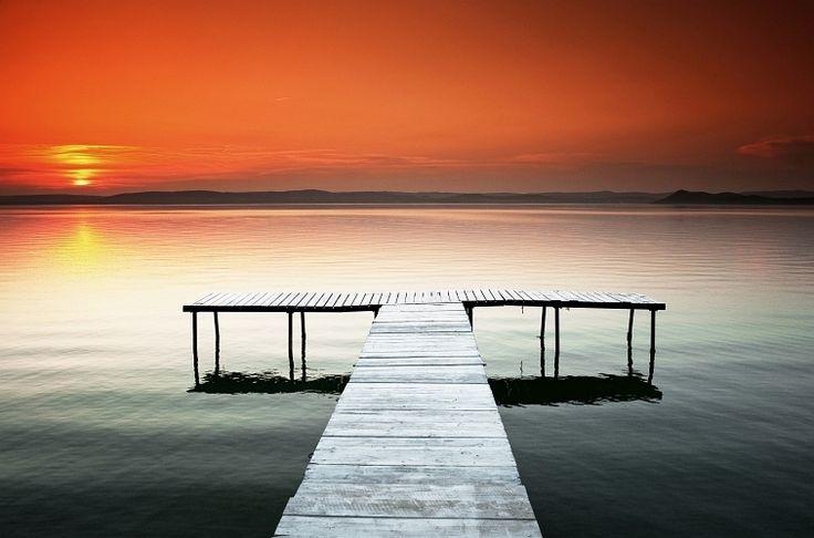 Sunset at lake Balaton
