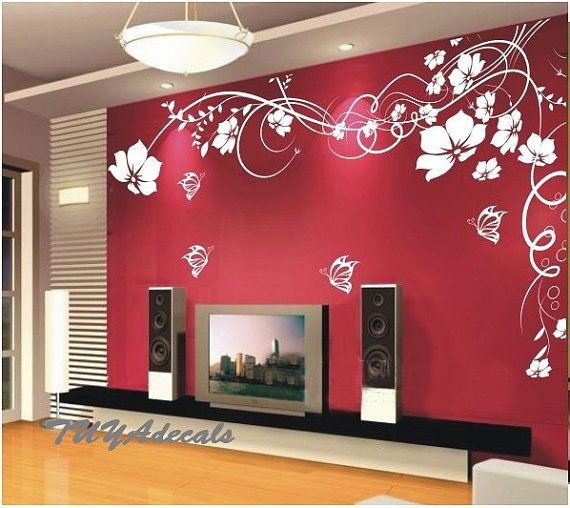 Nursery decal Vinyl Wall Decal Nature Design Wall Decals chrildren's wall decals Wallstickers Tree with birds decals :butterfly flower