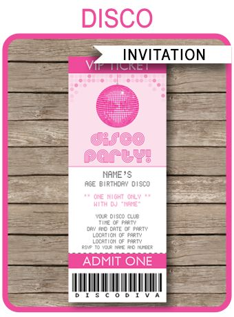 Instantly download Disco Party Ticket Invitations! Easily customize the template at home & print out as many Dance Invitations as you need. Download now!