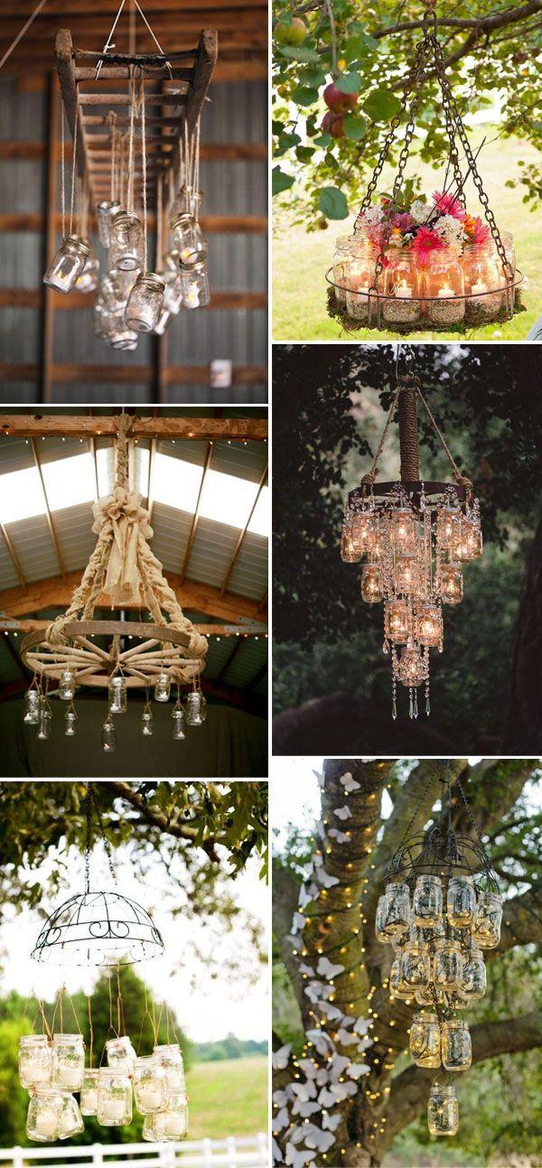 mason jar wedding chandelier for rustic and vintage weddings