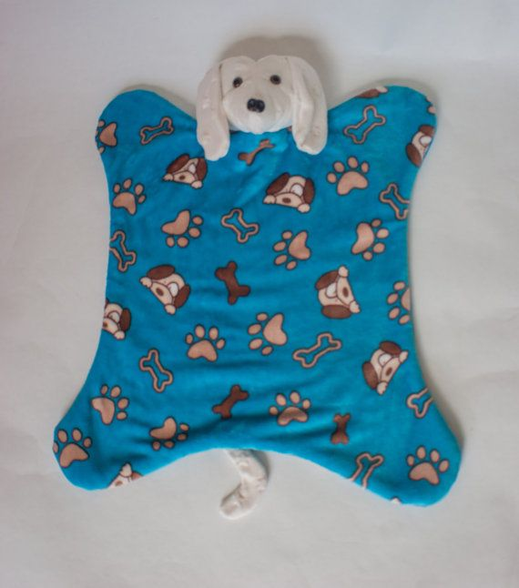 Dog puppy snuggle blanket handmade minkee by MissSaturnDesigns