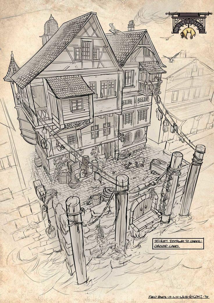 The Golden Fleece Inn #1, Fabio Venetz on ArtStation at https://www.artstation.com/artwork/the-golden-fleece-inn-1