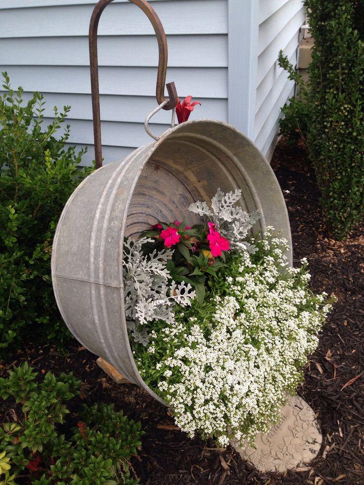 Upcycle Of A 10 Washtub Garden Ideas Pinterest Upcycle