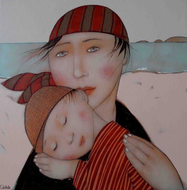 Mujeres soñadoras y sensibles pintadas por Cécile Veilhan. Aquí en el blog de Indalo Natura.