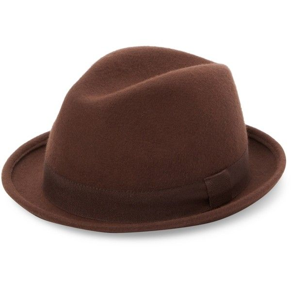 Saks Fifth Avenue Made in Italy Men's Sam Wool Fedora - Brown, Size L ($49) ❤ liked on Polyvore featuring men's fashion, men's accessories, men's hats, brown, men's brimmed hats, mens brown fedora hat, mens fedora hats, mens wool fedora hats and mens wool hats