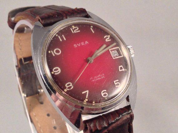 Svea  1960's Men's Mechanical Watch  Date  17 by StonebrookVintage