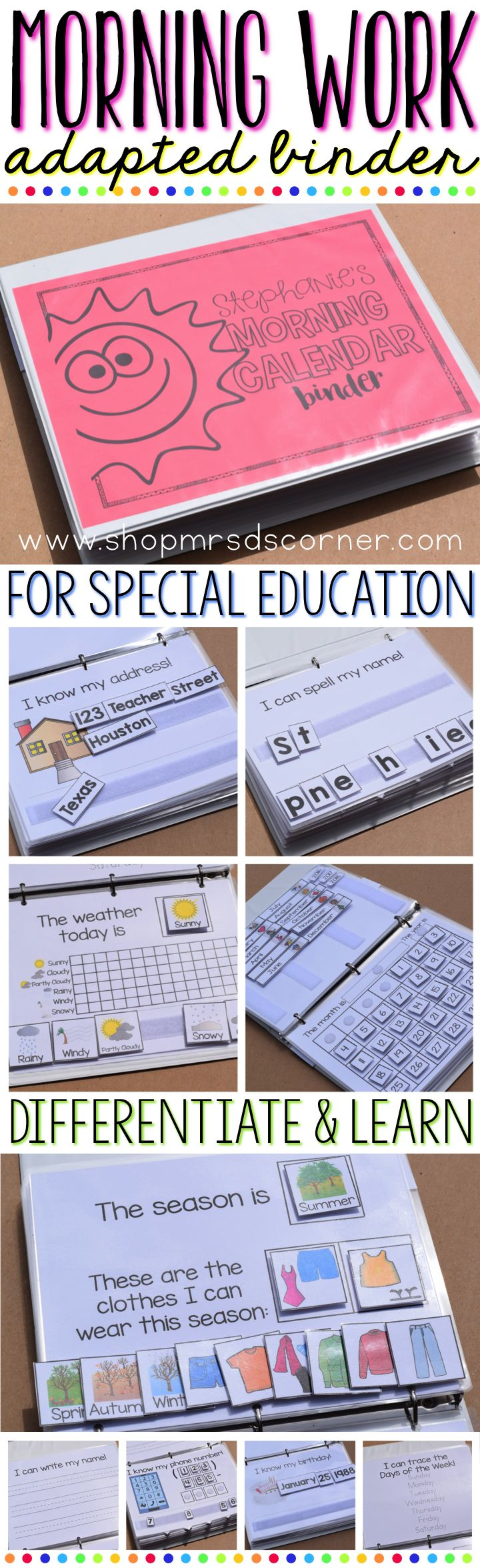 Transform your morning routine with editable, adapted calendar binders. Differentiated and ready for your students! Practice personal information and basic skills all in one place. Students manipulate Velcro pieces to show what they know. Only at Mrs. D's Corner. www.shopmrsdscorner.com