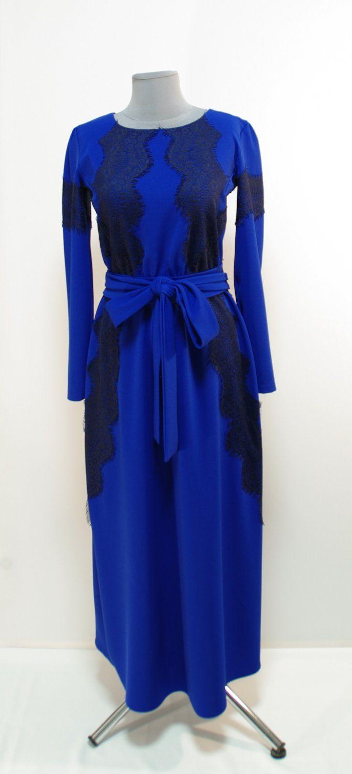 Ультра-синее платье с темно-синими кружевами, длина макси   Платье-терапия от Юлии