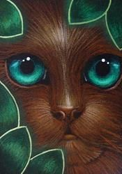 Art: REVr CHOCOLATE CAT BEHIND THE LEAVES by Artist Cyra R. Cancel