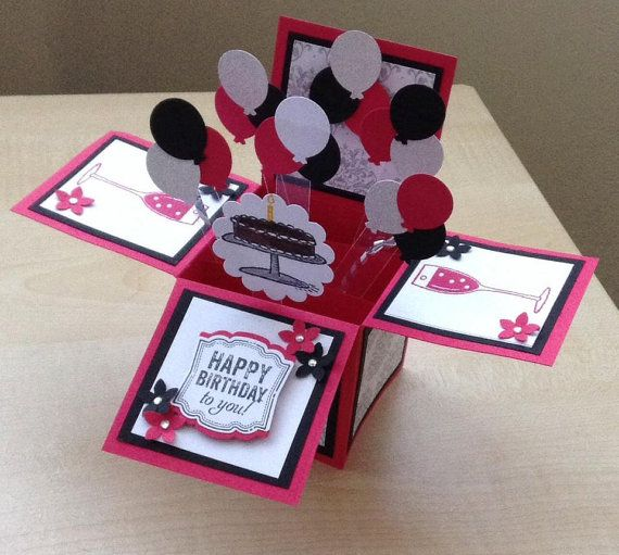 Handmade Card in a box/ unique birthday greeting card/box card/ 3D greeting…