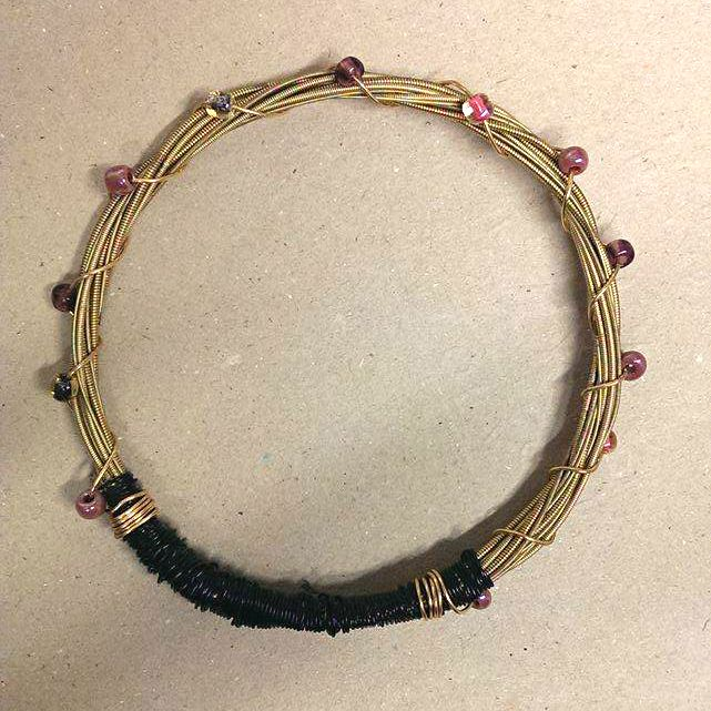 Bronze Guitar String Bracelet with Seed Beads