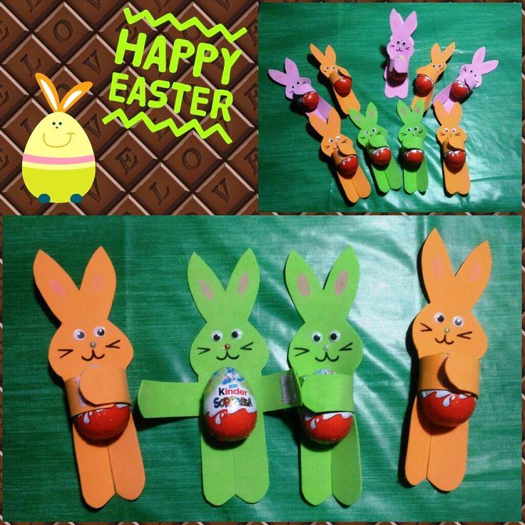 pasqua coniglietti gomma crepla porta ovetto kinder cioccolato calamita regalo fai da te