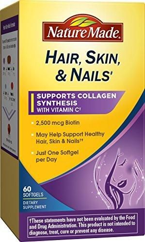 Nature Made Hair Skin Nails with Biotin Softgel 2500 mcg 60 Count