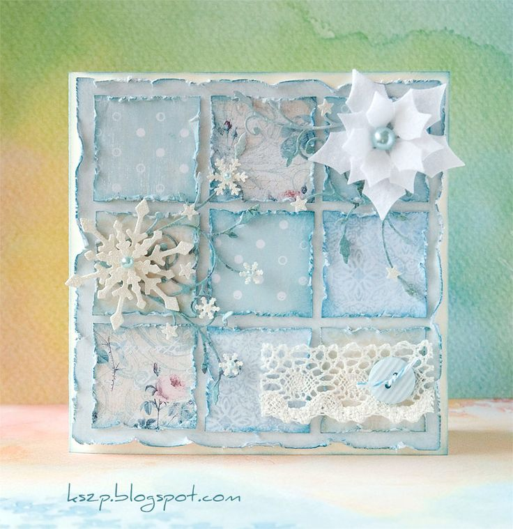 shabby chic card .... nine-patch in blues ... with lace, snowflake and white poinsettia ... lovely!!