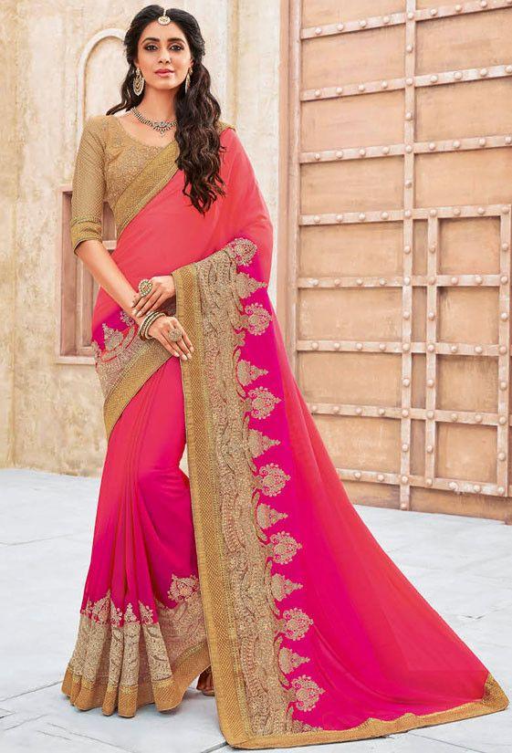 Lush Coral Pink and Rani Pink #Saree